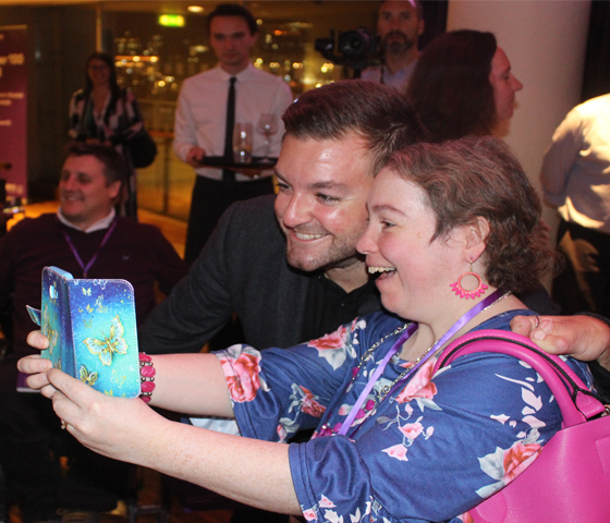 A picture of Ciara with Alex Brooker