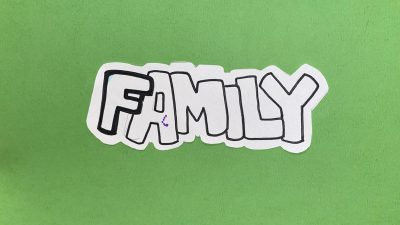 Photo of the word family hand drawn