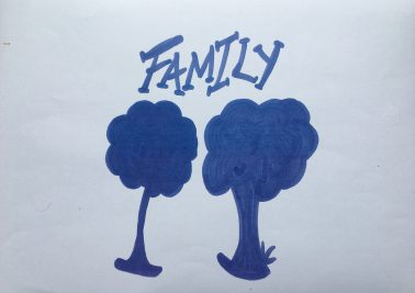 Photo of two hand drawn trees